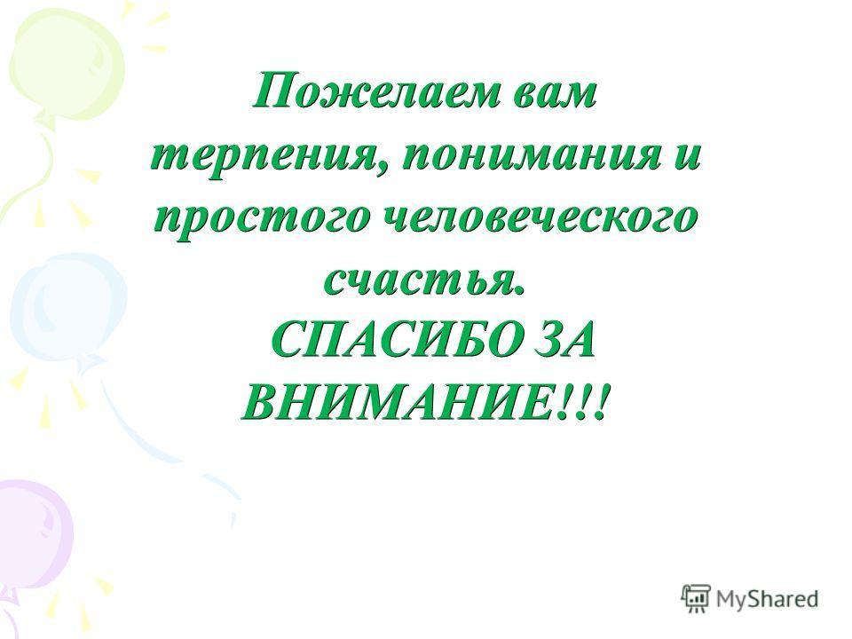 Пожелаем вам терпения, понимания и простого человеческого счастья. СПАСИБО ЗА ВНИМАНИЕ!!! СПАСИБО ЗА ВНИМАНИЕ!!!