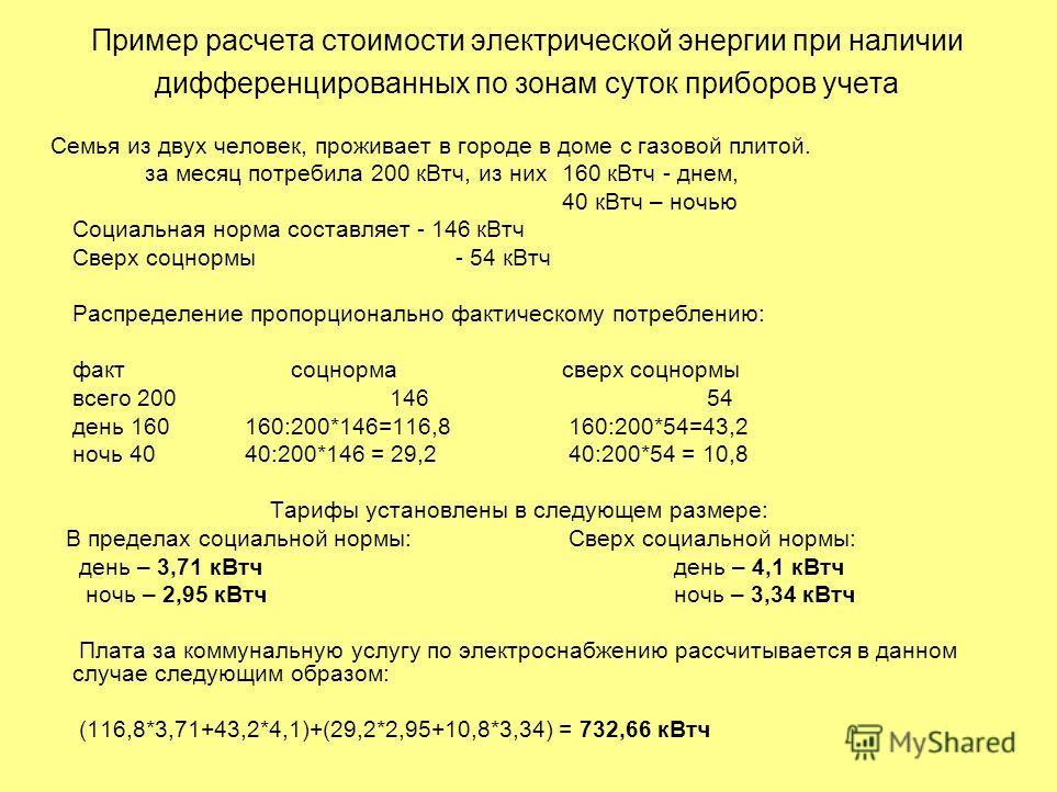 Пример расчета стоимости электрической энергии при наличии дифференцированных по зонам суток приборов учета Семья из двух человек, проживает в городе в доме с газовой плитой. за месяц потребила 200 кВт ч, из них 160 кВт ч - днем, 40 кВт ч – ночью Соц