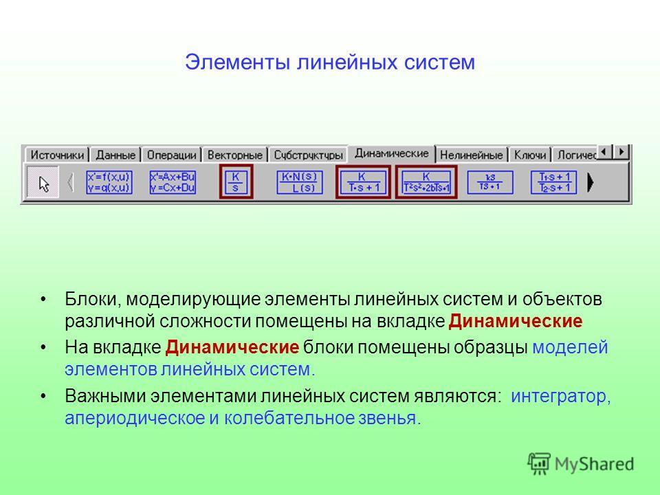 Элементы линейных систем Блоки, моделирующие элементы линейных систем и объектов различной сложности помещены на вкладке Динамические На вкладке Динамические блоки помещены образцы моделей элементов линейных систем. Важными элементами линейных систем