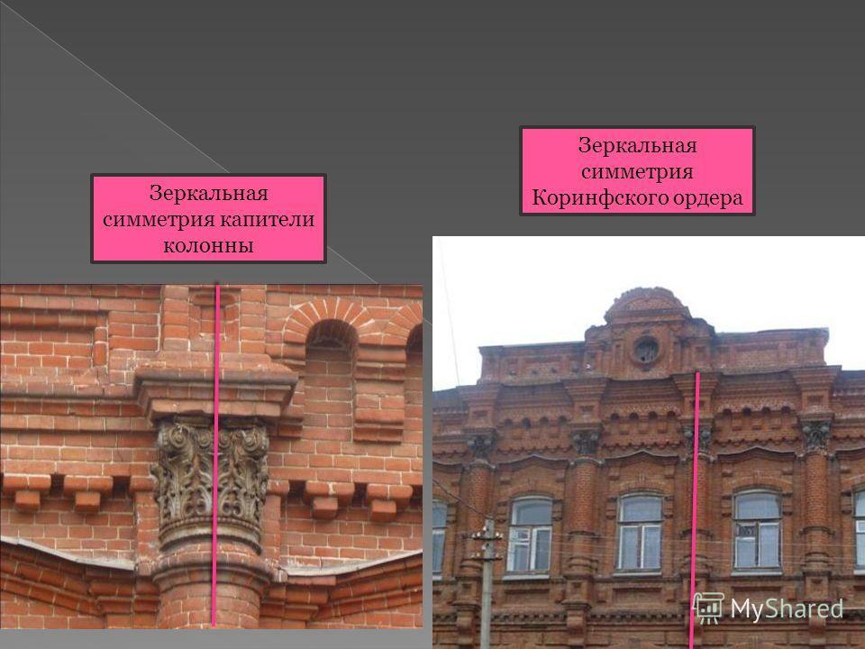 Зеркальная симметрия Коринфского ордера Зеркальная симметрия капители колонны