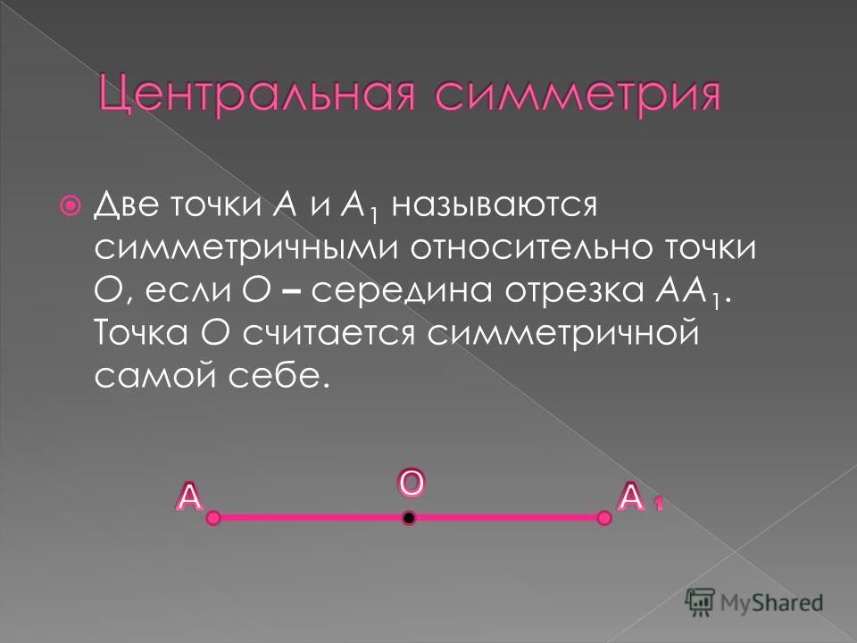 Две точки А и А 1 называются симметричными относительно точки О, если О – середина отрезка АА 1. Точка О считается симметричной самой себе.