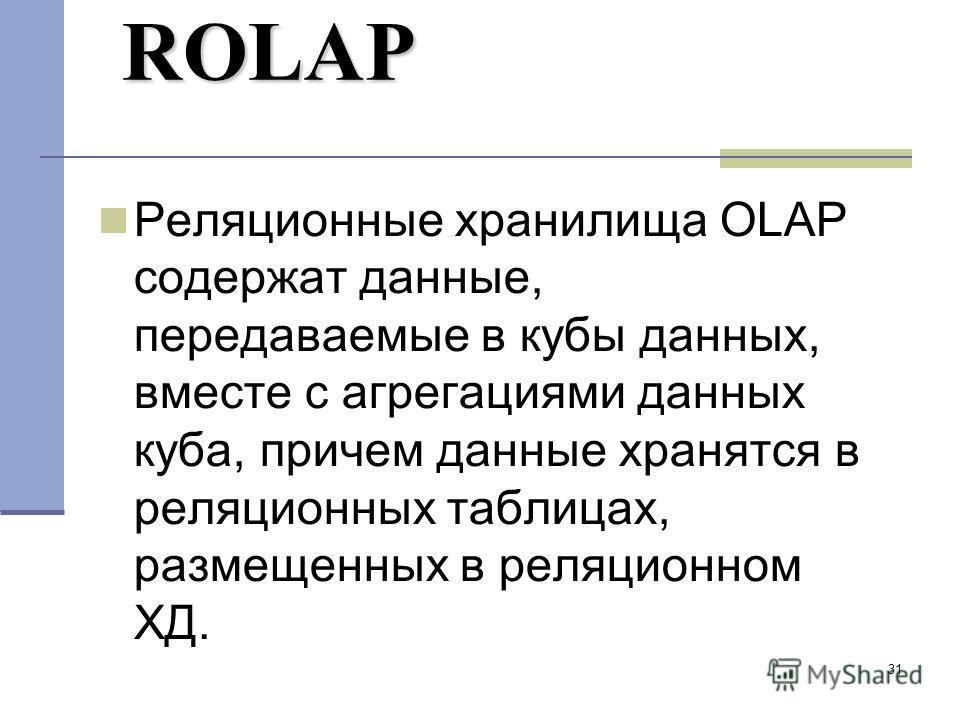 31 ROLAP Реляционные хранилища OLAP содержат данные, передаваемые в кубы данных, вместе с агрегациями данных куба, причем данные хранятся в реляционных таблицах, размещенных в реляционном ХД.
