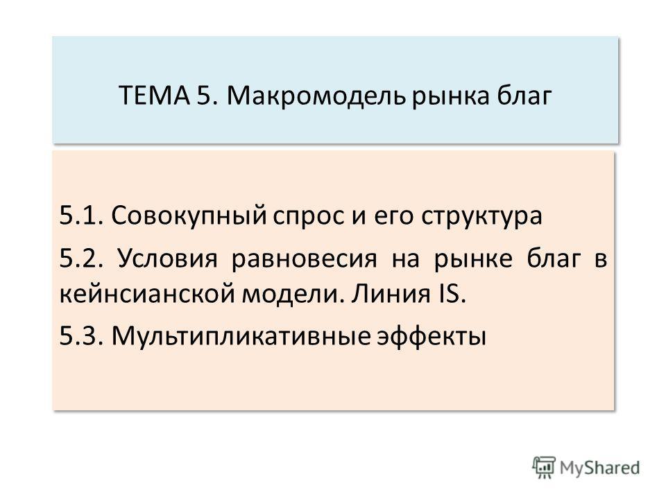 ТЕМА 5. Макромодель рынка благ 5.1. Совокупный спрос и его структура 5.2. Условия равновесия на рынке благ в кейнсианской модели. Линия IS. 5.3. Мультипликативные эффекты 5.1. Совокупный спрос и его структура 5.2. Условия равновесия на рынке благ в к