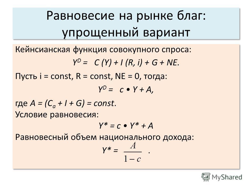 Равновесие на рынке благ: упрощенный вариант Кейнсианская функция совокупного спроса: Y D = C (Y) + I (R, i) + G + NЕ. Пусть i = const, R = const, NE = 0, тогда: Y D = c Y + A, где A = (C a + I + G) = const. Условие равновесия: Y* = c Y* + A Равновес