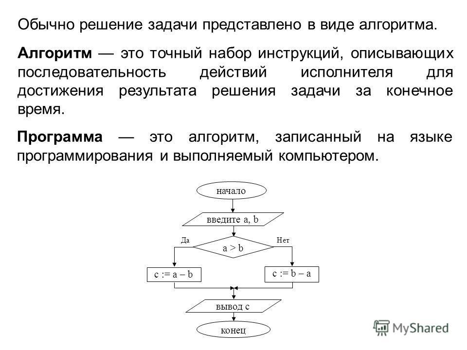 Алгоритм это точный набор инструкций, описывающих последовательность действий исполнителя для достижения результата решения задачи за конечное время. Программа это алгоритм, записанный на языке программирования и выполняемый компьютером. Обычно решен