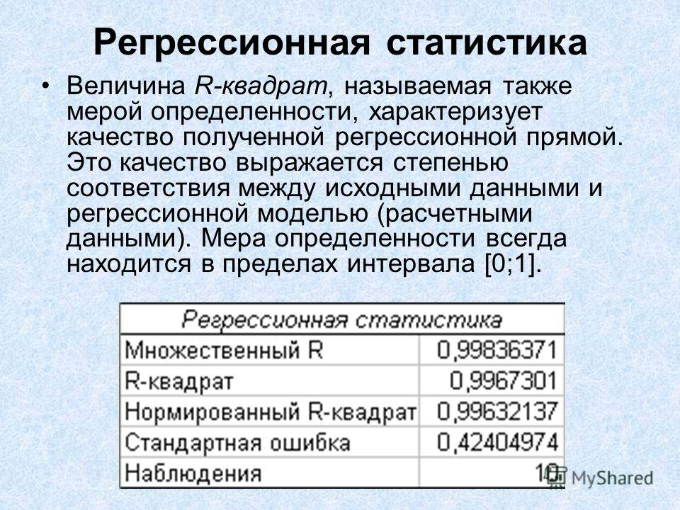 Регрессионная статистика Величина R-квадрат, называемая также мерой определенности, характеризует качество полученной регрессионной прямой. Это качество выражается степенью соответствия между исходными данными и регрессионной моделью (расчетными данн