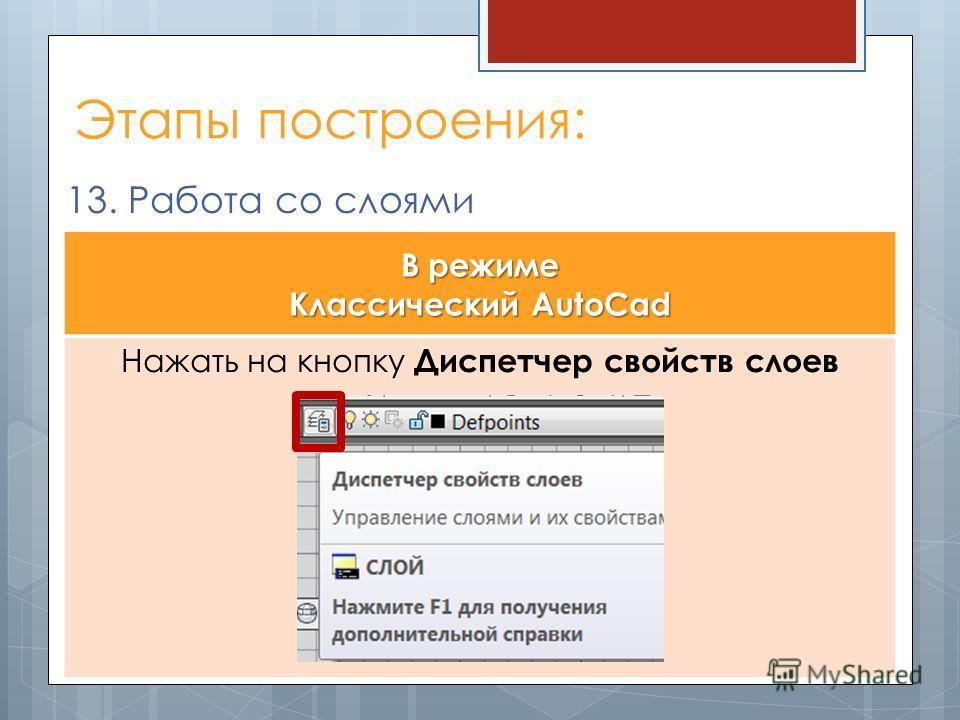 Этапы построения: 13. Работа со слоями В режиме Классический AutoCad Нажать на кнопку Диспетчер свойств слоев