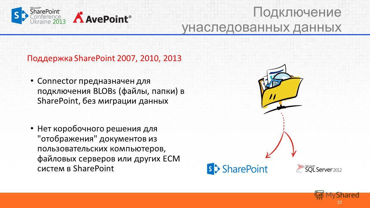 Подключение унаследованных данных 22 Connector предназначен для подключения BLOBs (файлы, папки) в SharePoint, без миграции данных Нет коробочного решения для
