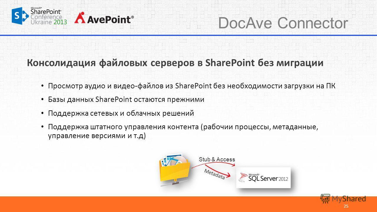DocAve Connector 25 Консолидация файловых серверов в SharePoint без миграции Просмотр аудио и видео-файлов из SharePoint без необходимости загрузки на ПК Базы данных SharePoint остаются прежними Поддержка сетевых и облачных решений Поддержка штатного
