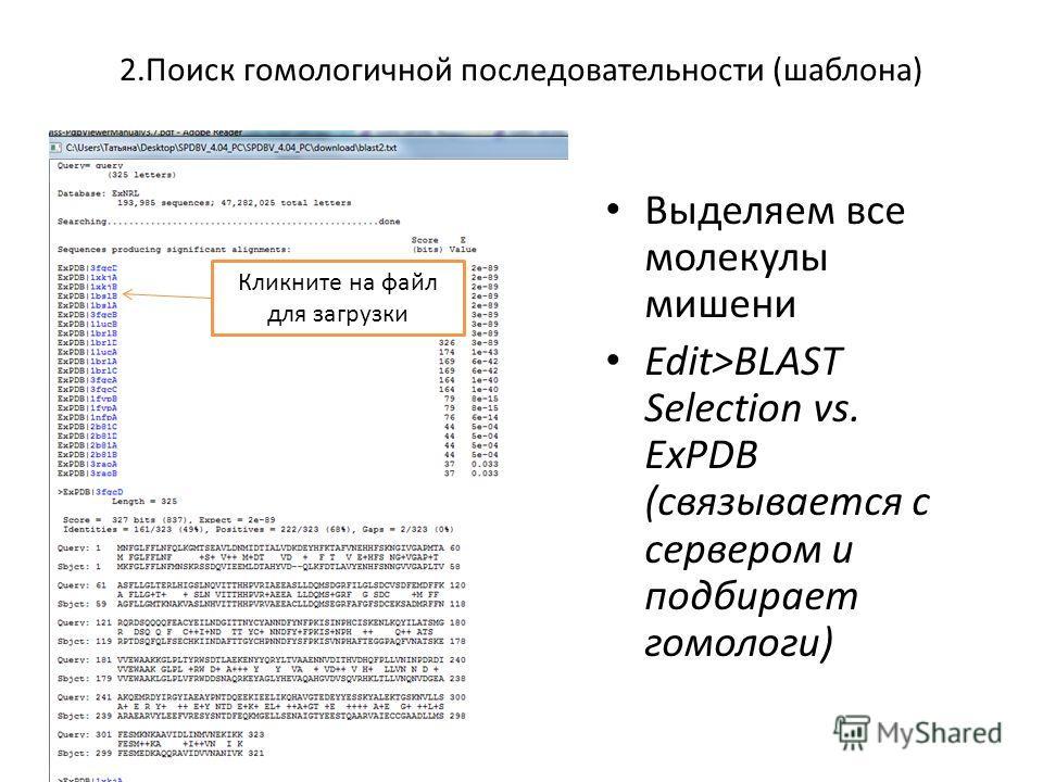 2. Поиск гомологичной последовательности (шаблона) Выделяем все молекулы мишени Edit>BLAST Selection vs. ExPDB (связывается с сервером и подбирает гомологи) Кликните на файл для загрузки