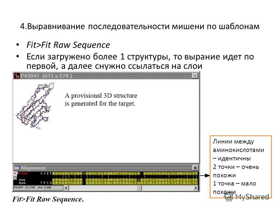 4. Выравнивание последовательности мишени по шаблонам Fit>Fit Raw Sequence Если загружено более 1 структуры, то вы ранние идет по первой, а далее снужно ссылаться на слои Линии между аминокислотами – идентичны 2 точки – очень похожи 1 точка – мало по