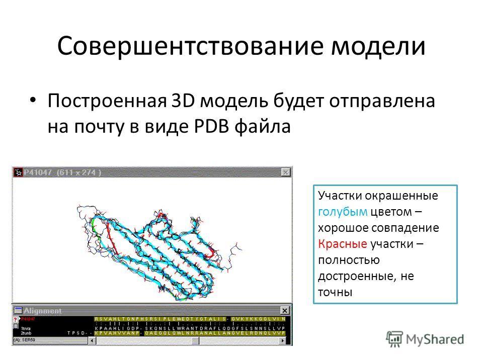 Cовершентствование модели Построенная 3D модель будет отправлена на почту в виде PDB файла Участки окрашенные голубым цветом – хорошее совпадение Красные участки – полностью достроенные, не точны