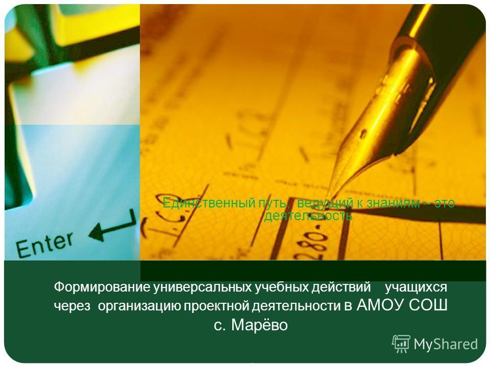 Формирование универсальных учебных действий учащихся через организацию проектной деятельности в АМОУ СОШ с. Марёво. Единственный путь, ведущий к знаниям – это деятельность