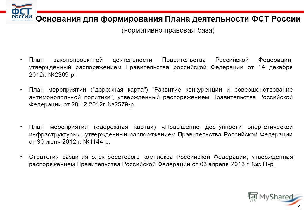 Основания для формирования Плана деятельности ФСТ России (нормативно-правовая база) План законопроектной деятельности Правительства Российской Федерации, утвержденный распоряжением Правительства российской Федерации от 14 декабря 2012 г. 2369-р. План
