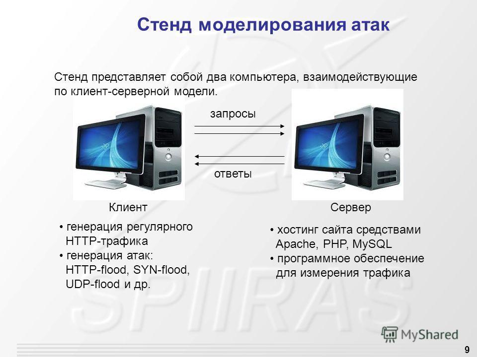 9 Стенд моделирования атак запросы ответы Клиент Сервер генерация регулярного HTTP-трафика генерация атак: HTTP-flood, SYN-flood, UDP-flood и др. хостинг сайта средствами Apache, PHP, MySQL программное обеспечение для измерения трафика Стенд представ