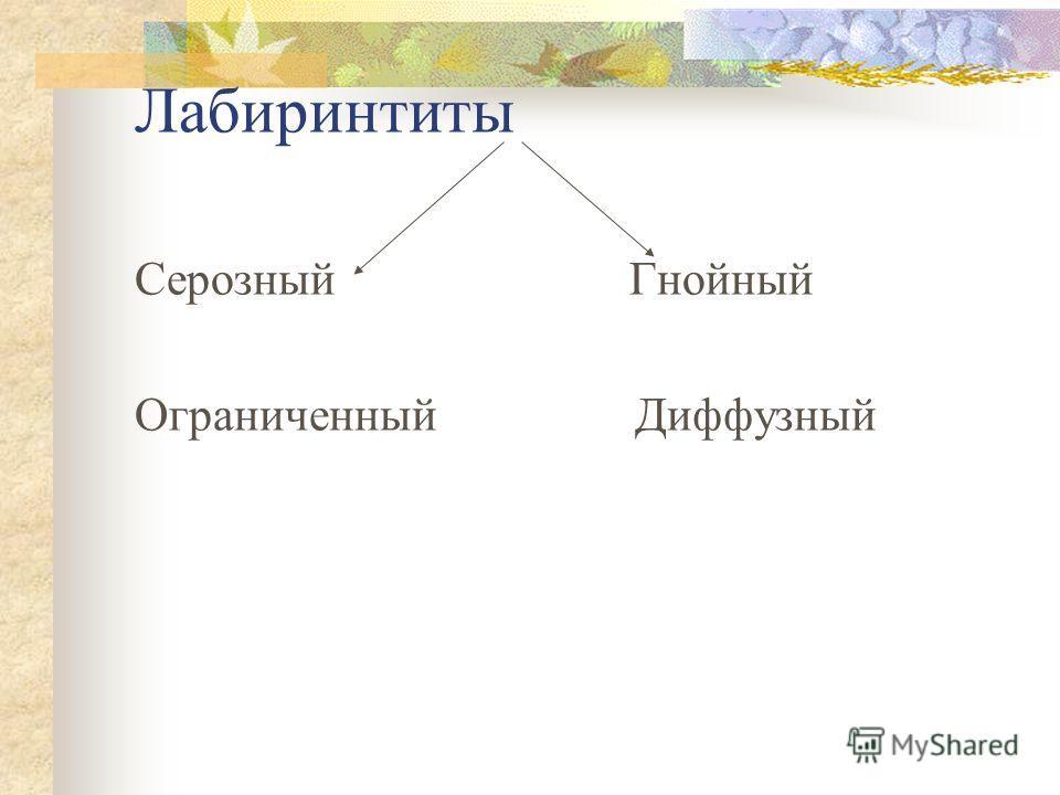 Лабиринтиты Серозный Гнойный Ограниченный Диффузный