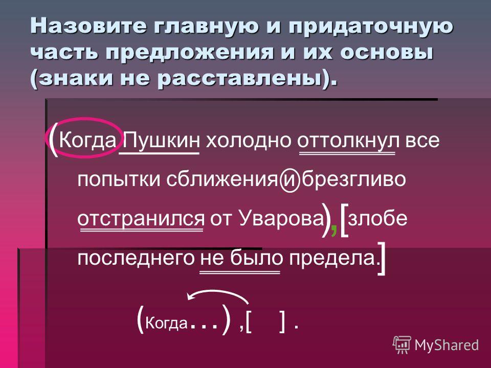 Назовите главную и придаточную часть предложения и их основы (знаки не расставлены). Когда Пушкин холодно оттолкнул все попытки сближения и брезгливо отстранился от Уварова злобе последнего не было предела. [ ] ( ), ( Когда …),[ ].