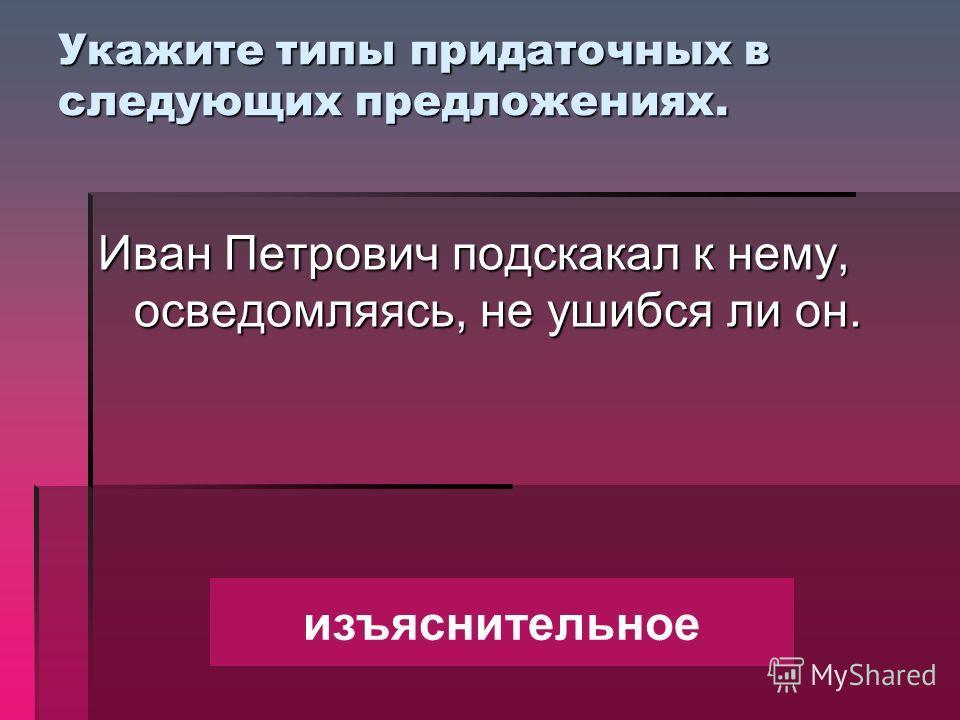 Укажите типы придаточных в следующих предложениях. Иван Петрович подскакал к нему, осведомляясь, не ушибся ли он. изъяснительное