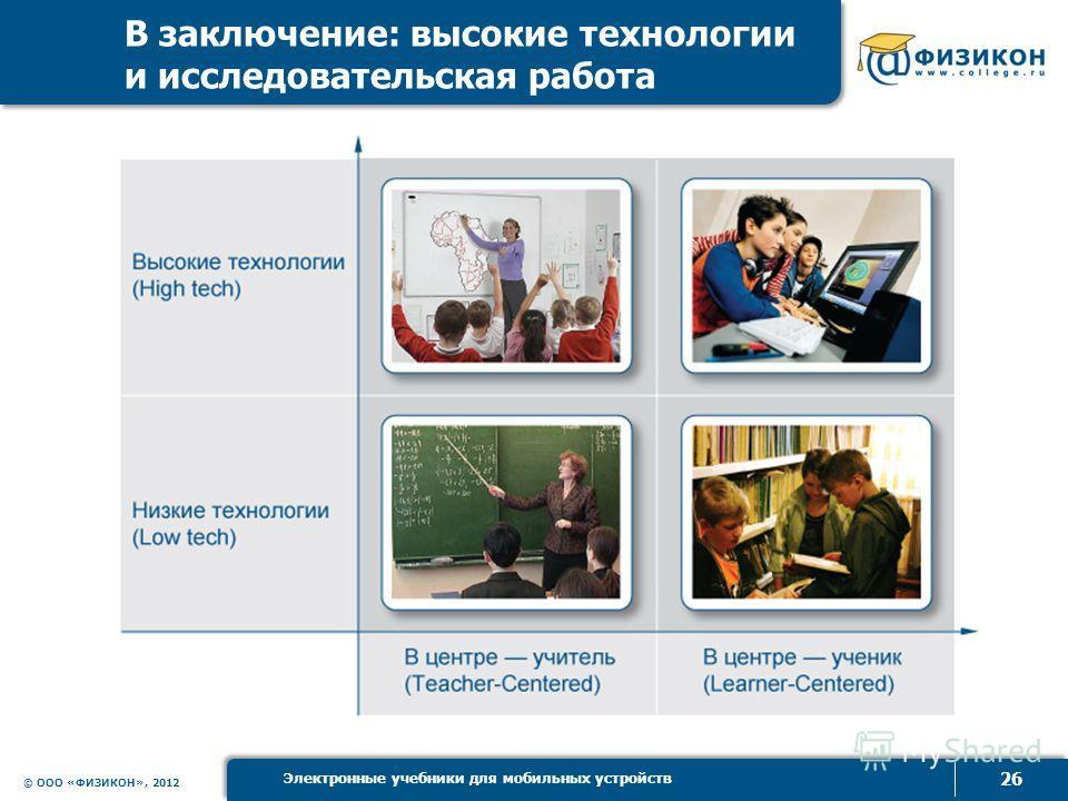 © ООО «ФИЗИКОН», 2012 26 Электронные учебники для мобильных устройств В заключение: высокие технологии и исследоватьельская работа
