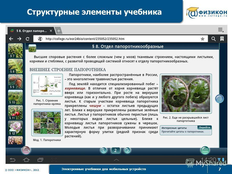 © ООО «ФИЗИКОН», 2012 7 Электронные учебники для мобильных устройств Структурные элементы учебника