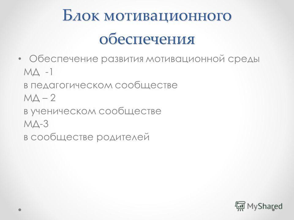 Блок мотивационного обеспечения Обеспечение развития мотивационной среды МД -1 в педагогическом сообществе МД – 2 в ученическом сообществе МД-3 в сообществе родителей