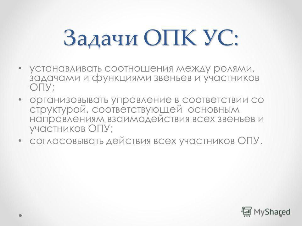Задачи ОПК УС: устанавливать соотношения между ролями, задачами и функциями звеньев и участников ОПУ; организовывать управление в соответствии со структурой, соответствующей основным направлениям взаимодействия всех звеньев и участников ОПУ; согласов