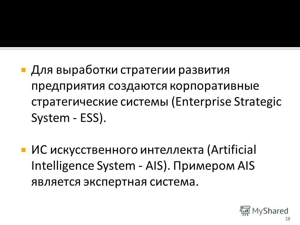 Для выработки стратегии развития предприятия создаются корпоративные стратегические системы (Enterprise Strategic System - ESS). ИС искусственного интеллекта (Artificial Intelligence System - AIS). Примером AIS является экспертная система. 18