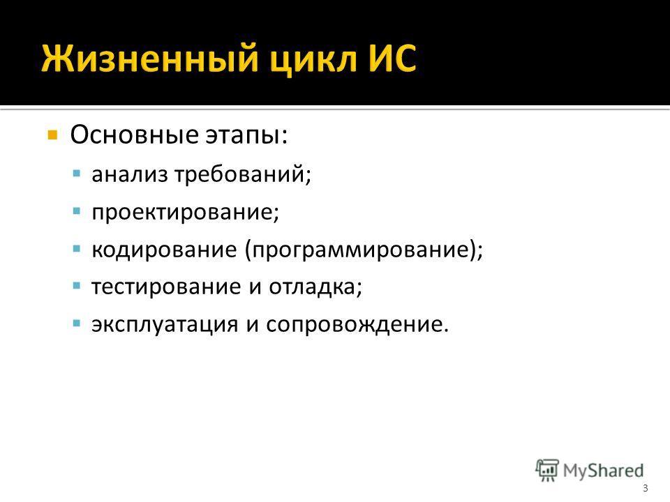 Основные этапы: анализ требований; проектирование; кодирование (программирование); тестирование и отладка; эксплуатация и сопровождение. 3