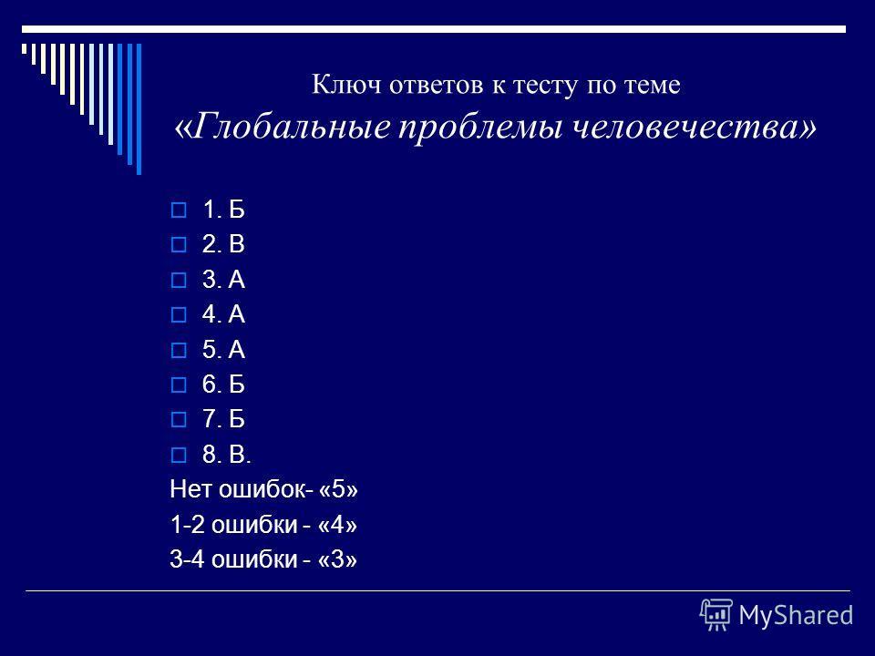Ключ ответов к тесту по теме «Глобальные проблемы человечества» 1. Б 2. В 3. А 4. А 5. А 6. Б 7. Б 8. В. Нет ошибок- «5» 1-2 ошибки - «4» 3-4 ошибки - «3»