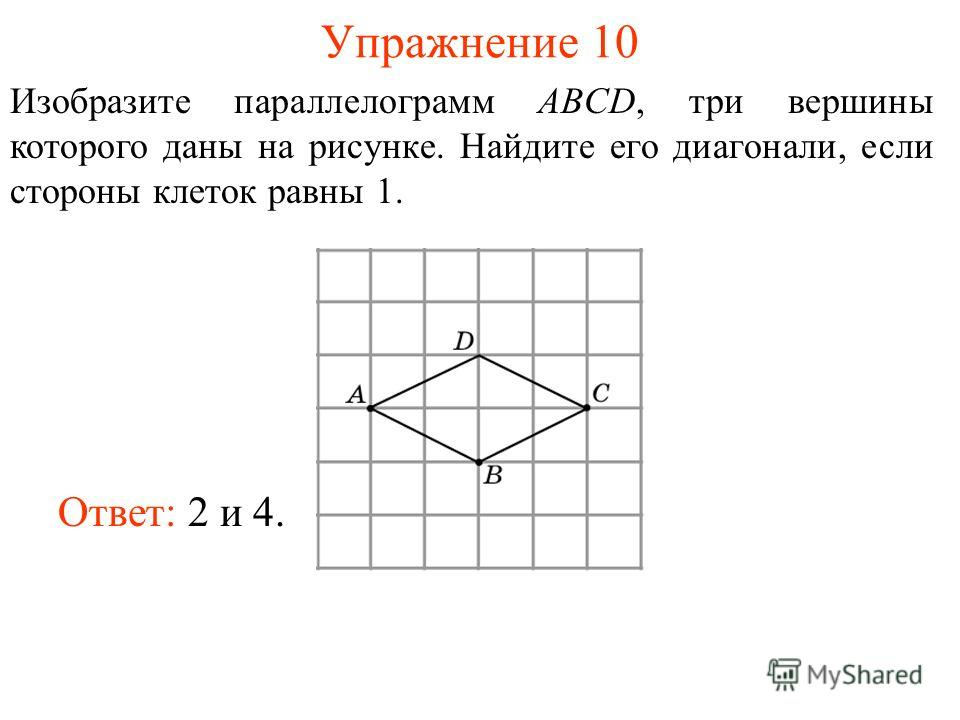 Упражнение 10 Изобразите параллелограмм ABCD, три вершины которого даны на рисунке. Найдите его диагонали, если стороны клеток равны 1. Ответ: 2 и 4.
