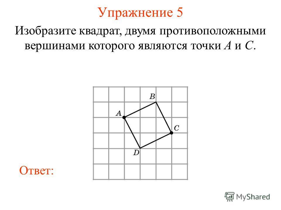 Упражнение 5 Изобразите квадрат, двумя противоположными вершинами которого являются точки A и C. Ответ: