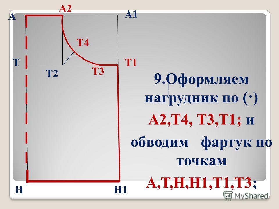 б А А1 Т Н Т1 Н1 9. Оформляем нагрудник по (·) А2,Т4, Т3,Т1; и обводим фартук по точкам А,Т,Н,Н1,Т1,Т3; А2 Т3 Т2 Т4