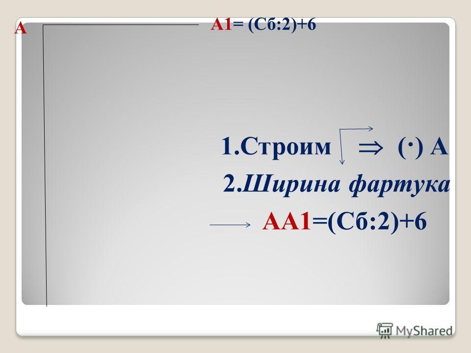 А 2. Ширина фартука АА1=(Сб:2)+6 А1= (Сб:2)+6