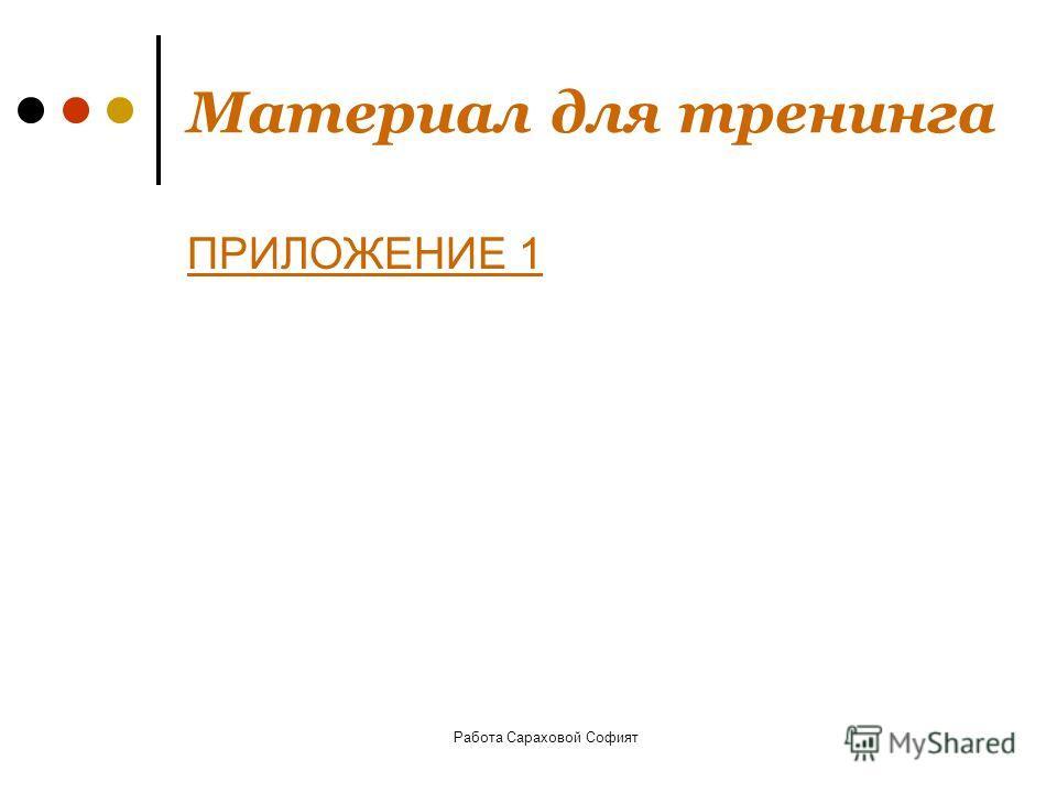 Работа Сараховой Софият Материал для тренинга ПРИЛОЖЕНИЕ 1