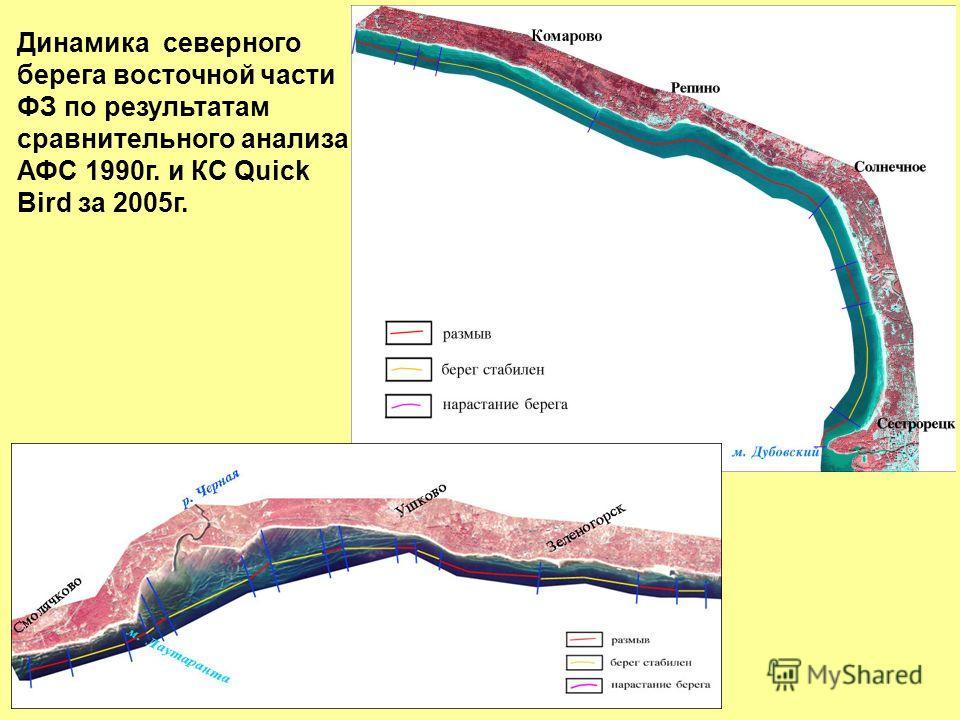 Динамика северного берега восточной части ФЗ по результатам сравнительного анализа АФС 1990 г. и КС Quick Bird за 2005 г.