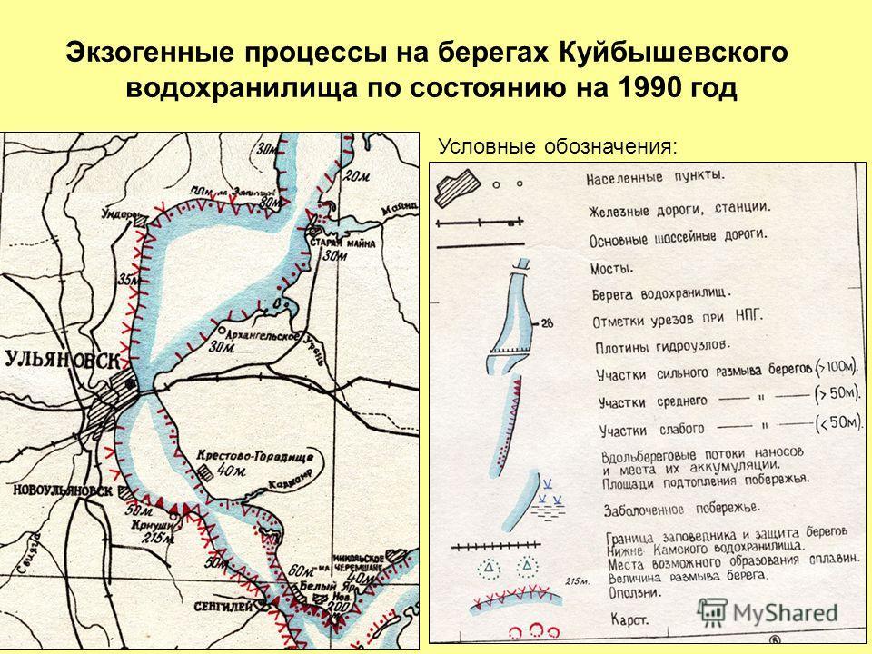 Условные обозначения: Экзогенные процессы на берегах Куйбышевского водохранилища по состоянию на 1990 год