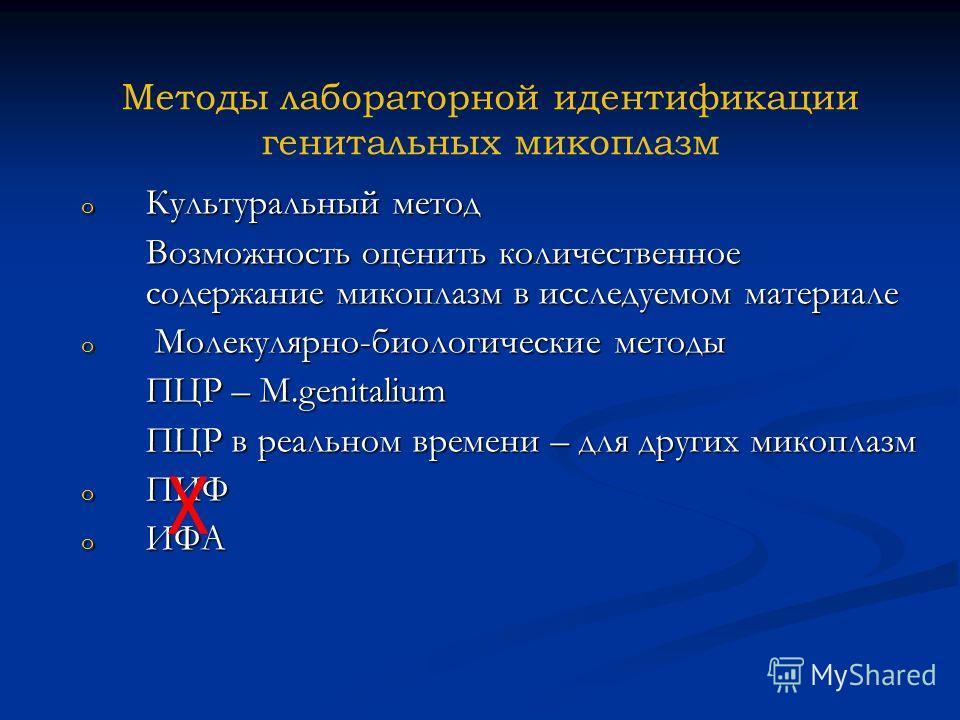 Методы лабораторной идентификации генитальных микоплазм o Культуральный метод Возможность оценить количественное содержание микоплазм в исследуемом материале o Молекулярно-биологические методы ПЦР – M.genitalium ПЦР в реальном времени – для других ми