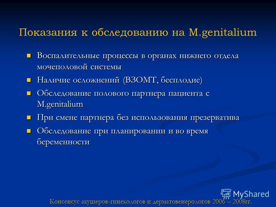 Показания к обследованию на M.genitalium Воспалительные процессы в органах нижнего отдела мочеполовой системы Воспалительные процессы в органах нижнего отдела мочеполовой системы Наличие осложнений (ВЗОМТ, бесплодие) Наличие осложнений (ВЗОМТ, беспло