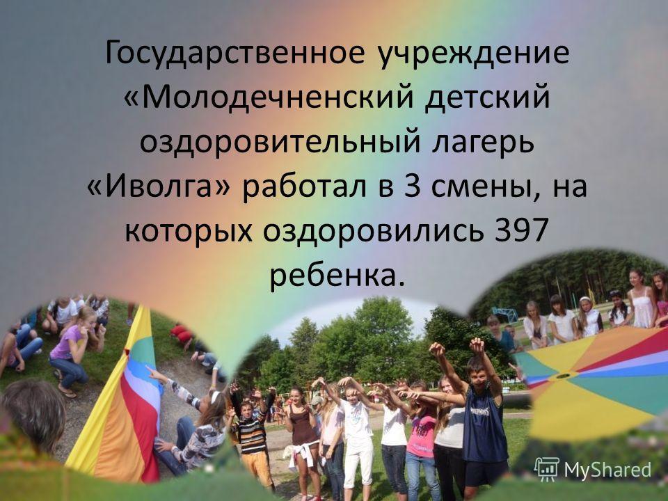 Государственное учреждение «Молодечненский детский оздоровительный лагерь «Иволга» работал в 3 смены, на которых оздоровились 397 ребенка.