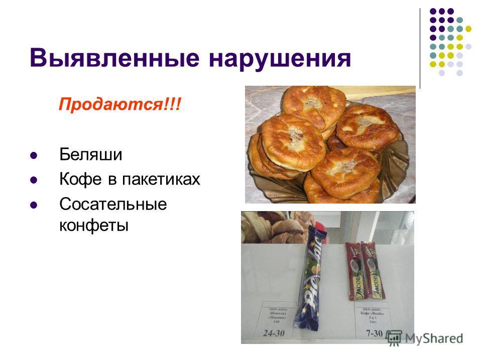 Выявленные нарушения Продаются!!! Беляши Кофе в пакетиках Сосательные конфеты