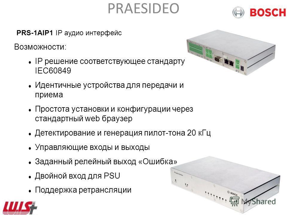 PRAESIDEO NCO Cobranet interface 60 nodes NCO Cobranet interface 60 nodes NCO Cobranet interface 60 nodes Ethernet Switch Ethernet по стеклянному оптоволоконному кабелю или CAT5 Ethernet Max. 5 PC CST в кольце Расширение системы
