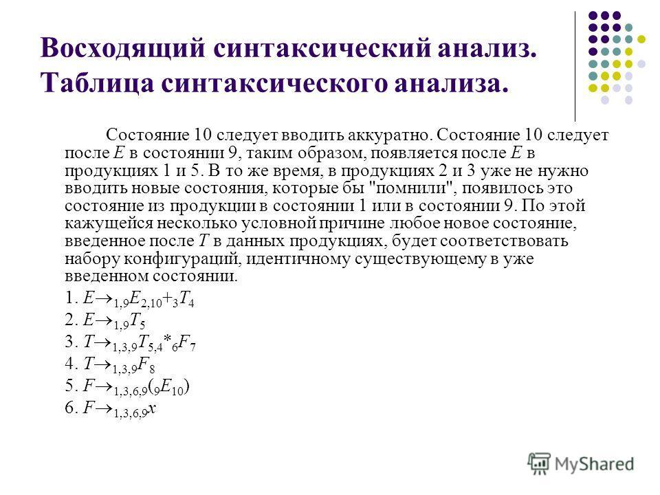 Восходящий синтаксический анализ. Таблица синтаксического анализа. Состояние 10 следует вводить аккуратно. Состояние 10 следует после Е в состоянии 9, таким образом, появляется после Е в продукциях 1 и 5. В то же время, в продукциях 2 и 3 уже не нужн