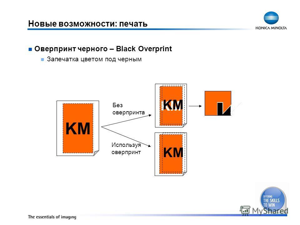 Новые возможности: печать Оверпринт черного – Black Overprint Запечатка цветом под черным KM Без оверпринта KM Используя оверпринт