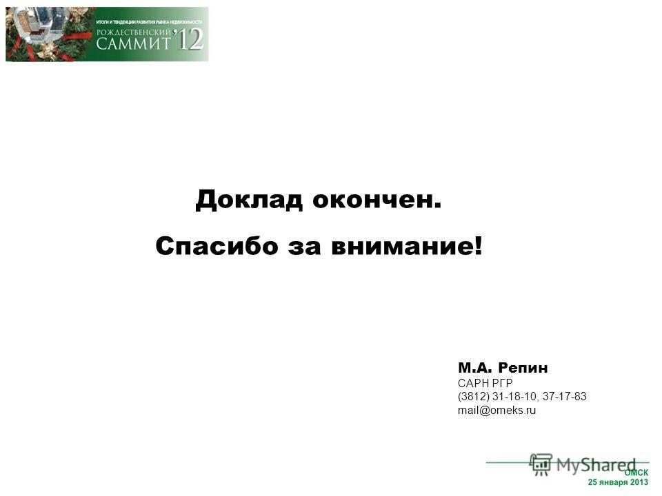 Доклад окончен. Спасибо за внимание! М.А. Репин САРН РГР (3812) 31-18-10, 37-17-83 mail@omeks.ru