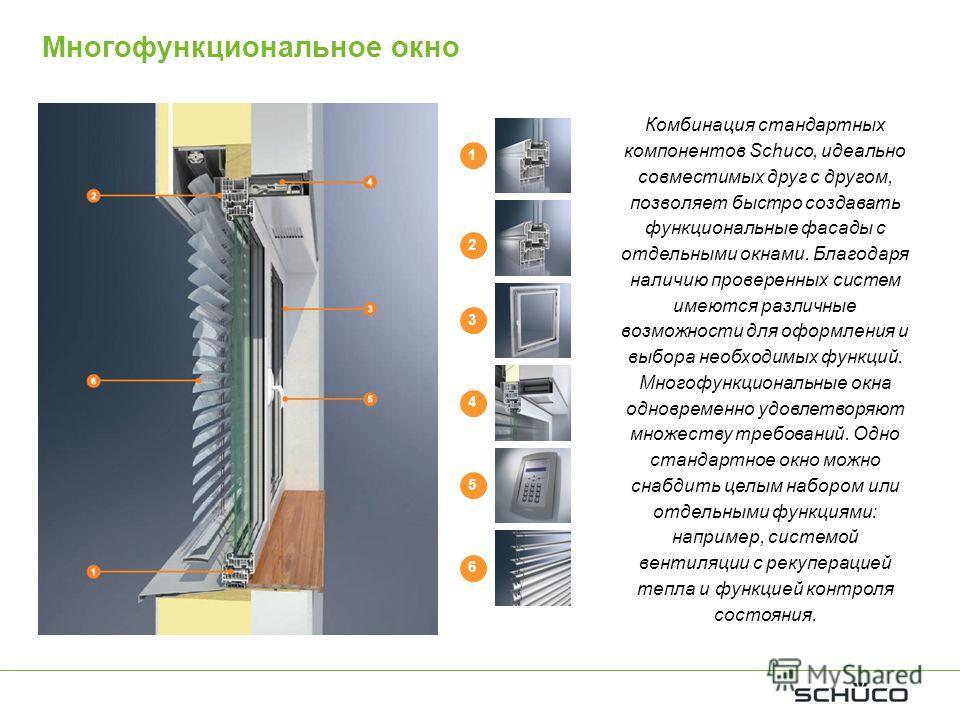 Многофункциональное окно 1 1 2 3 4 5 6 Комбинация стандартных компонентов Schuco, идеально совместимых друг с другом, позволяет быстро создавать функциональные фасады с отдельными окнами. Благодаря наличию проверенных систем имеются различные возможн