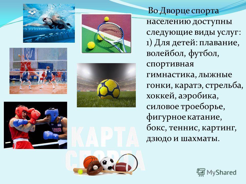 Во Дворце спорта населению доступны следующие виды услуг: 1) Для детей: плавание, волейбол, футбол, спортивная гимнастика, лыжные гонки, каратэ, стрельба, хоккей, аэробика, силовое троеборье, фигурное катание, бокс, теннис, картинг, дзюдо и шахматы.