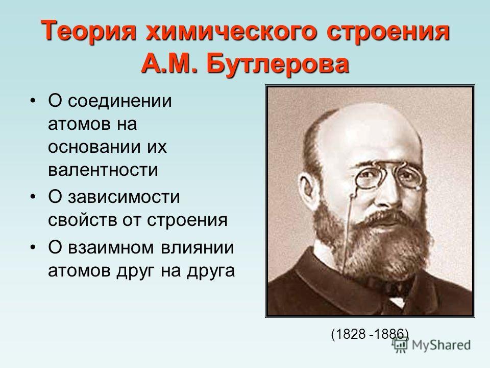 Теория химического строения А.М. Бутлерова О соединении атомов на основании их валентности О зависимости свойств от строения О взаимном влиянии атомов друг на друга (1828 -1886)