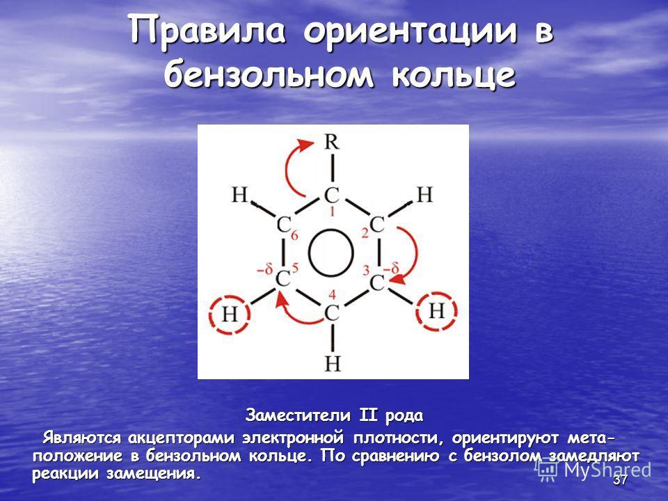 37 Правила ориентации в бензольном кольце Заместители II рода Являются акцепторами электронной плотности, ориентируют мета- положение в бензольном кольце. По сравнению с бензолом замедляют реакции замещения. Являются акцепторами электронной плотности