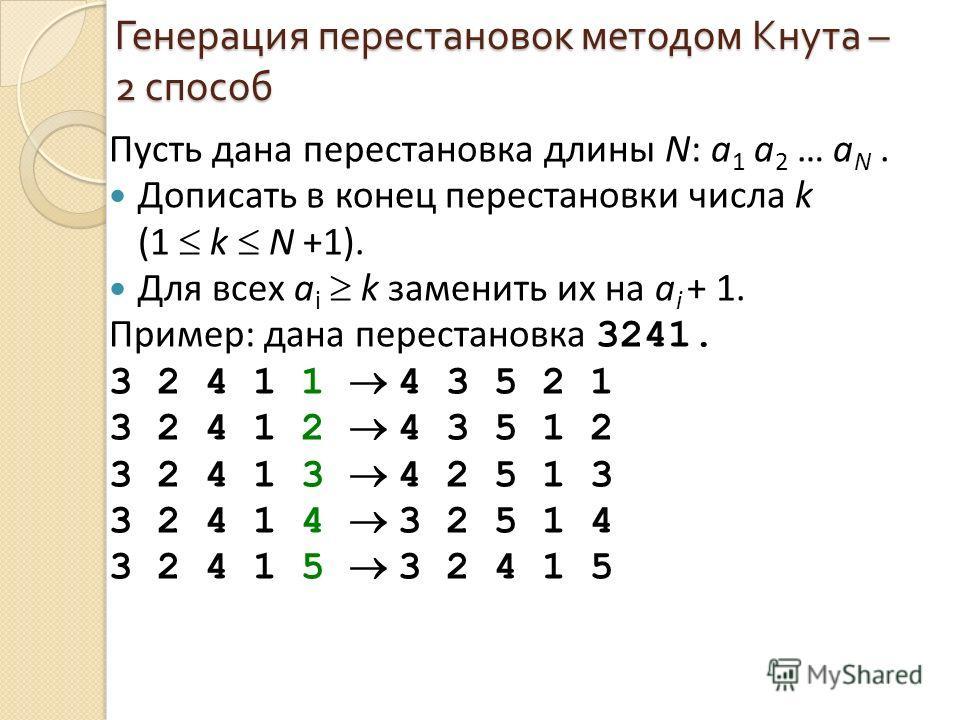 Генерация перестановок методом Кнута – 2 способ Пусть дана перестановка длины N: a 1 a 2 … a N. Дописать в конец перестановки числа k (1 k N +1). Для всех a i k заменить их на a i + 1. Пример: дана перестановка 3241. 3 2 4 1 1 4 3 5 2 1 3 2 4 1 2 4 3
