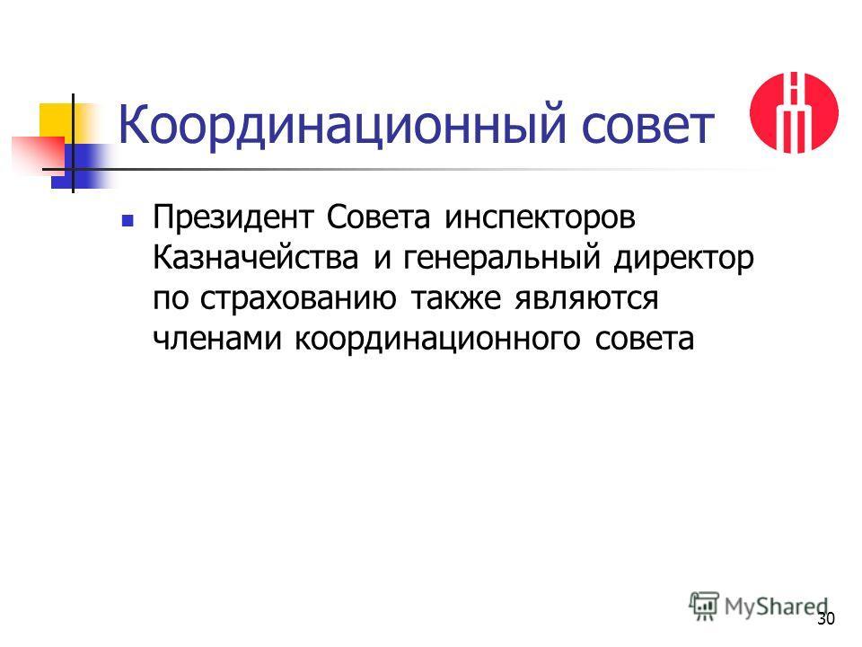 30 Координационный совет Президент Совета инспекторов Казначейства и генеральный директор по страхованию также являются членами координационного совета